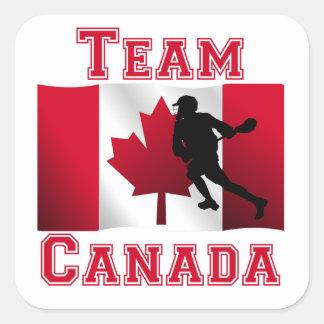 Lacrosse Canadian Flag Team Canada Square Stickers
