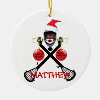 Lacrosse Christmas Cartoon Ceramic Ornament