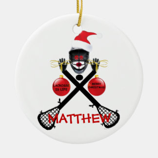 Lacrosse Christmas Cartoon Double-Sided Ceramic Round Christmas Ornament