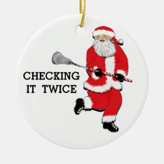 Lacrosse Christmas Collectible Ceramic Ornament at Zazzle
