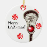 LACROSSE CHRISTMAS GIFT Double-Sided CERAMIC ROUND CHRISTMAS ORNAMENT