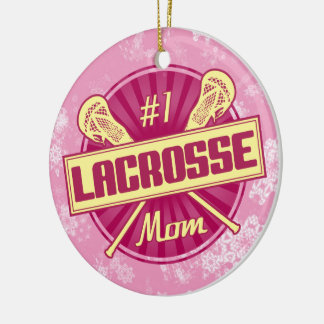 Lacrosse Christmas Ornament, #1 LAX Mom Double-Sided Ceramic Round Christmas Ornament