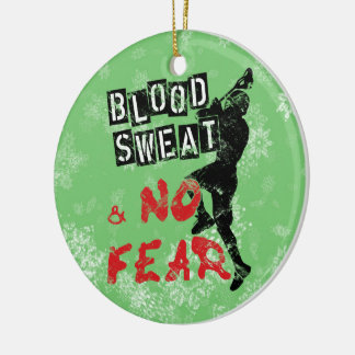Lacrosse Christmas Ornament, Blood Sweat & No Fear Double-Sided Ceramic Round Christmas Ornament