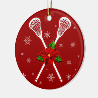 Lacrosse Christmas Tree decoration Double-Sided Ceramic Round Christmas Ornament
