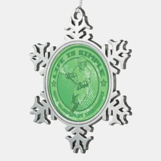 Lacrosse Christmas Tree Snowflake Ornament, Xmas Snowflake Pewter Christmas Ornament
