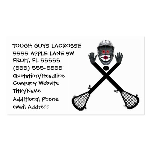 lacrosse coach sided standard business cards pack