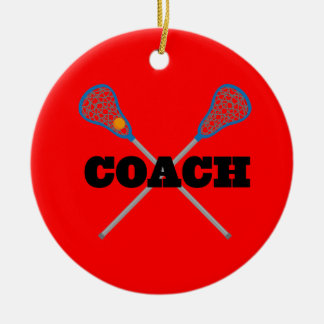 Lacrosse Coach Gift Idea Double-Sided Ceramic Round Christmas Ornament