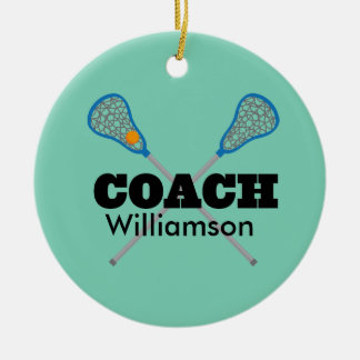 Lacrosse Coach Personalized Gift Idea Ceramic Ornament