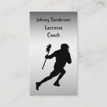 Lacrosse Coach Silver and Black Business Card