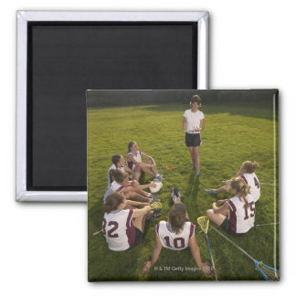 Lacrosse coach speaking to teenage (16-17) team 2 inch square magnet