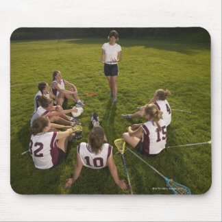 Lacrosse coach speaking to teenage (16-17) team mouse pad