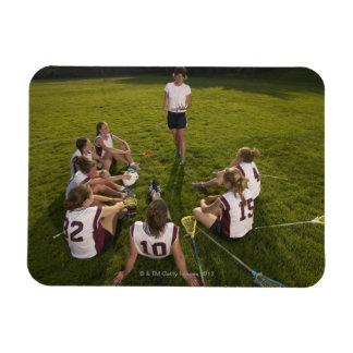 Lacrosse coach speaking to teenage (16-17) team rectangular photo magnet