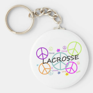 Lacrosse Colored Peace Signs Basic Round Button Keychain