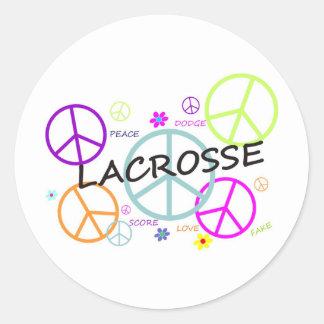 LaCrosse coloreó signos de la paz Pegatina Redonda