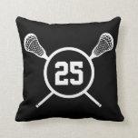 Lacrosse custom number pillow - black /white