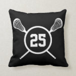 "Lacrosse custom number pillow - black /white<br><div class=""desc"">Black and white,  personalized lacrosse player number throw pillow. White design on black background on one side,  reverse black design on white background on the other side. Circle and crossed lacrosse sticks frame with your individualized number inside.  Lacrosse player and team custom items.</div>"