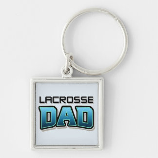 Lacrosse DAD Silver-Colored Square Keychain