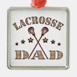 Lacrosse Dad Steampunk Style Square Metal Christmas Ornament