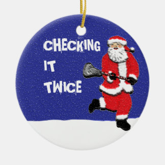 lacrosse Double-Sided ceramic round christmas ornament