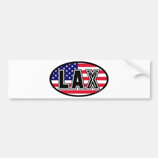 Lacrosse Flag America Bumper Sticker