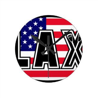 Lacrosse Flag America Round Clock