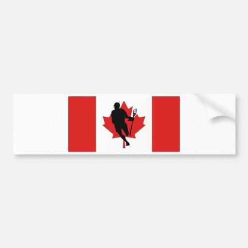 Lacrosse Flag IRockCanada Bumper Sticker