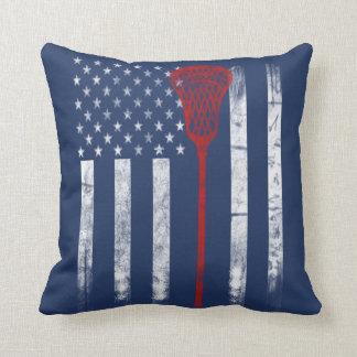 Lacrosse Flag Throw Pillow