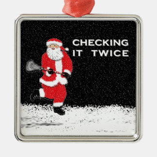 lacrosse gift square metal christmas ornament