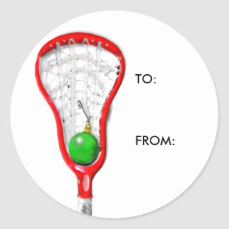 LACROSSE GIFT TAGS ROUND STICKERS