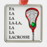 LACROSSE GIFTS FOR GIRLS SQUARE METAL CHRISTMAS ORNAMENT