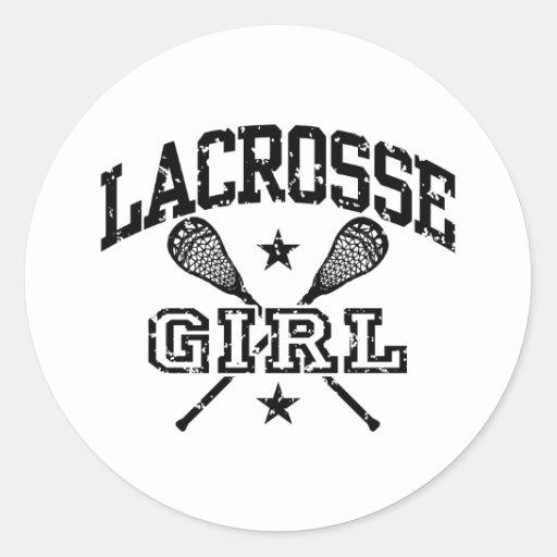 Lacrosse Girl Classic Round Sticker