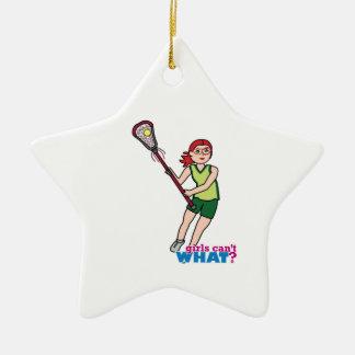 Lacrosse Girl - Light/Red Ceramic Ornament