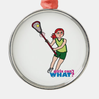 Lacrosse Girl - Light/Red Metal Ornament