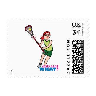 Lacrosse Girl - Light/Red Postage Stamp