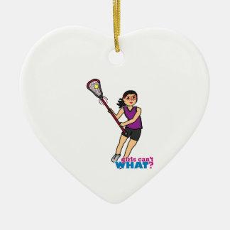 Lacrosse Girl - Medium Ceramic Ornament
