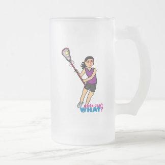 Lacrosse Girl - Medium Frosted Glass Beer Mug
