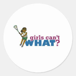 Lacrosse Girls Green Uniform Classic Round Sticker