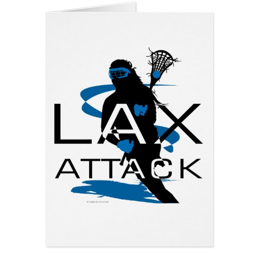 Lacrosse Girls LAX Attack Blue Greeting Card