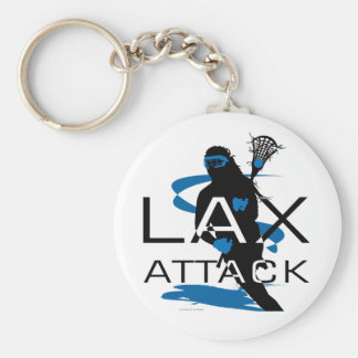 Lacrosse Girls LAX Attack Blue Keychain