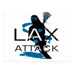Lacrosse Girls LAX Attack Blue Post Card