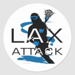Lacrosse Girls LAX Attack Blue Round Stickers