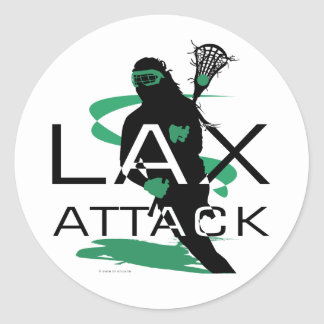 Lacrosse Girls LAX Attack Green Classic Round Sticker