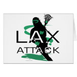 Lacrosse Girls LAX Attack Green Greeting Cards