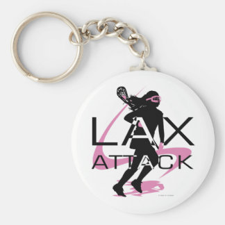 Lacrosse Girls LAX Attack Pink Keychain