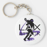 Lacrosse Girls LAX Attack Purple Keychains