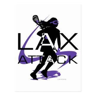 Lacrosse Girls LAX Attack Purple Postcard