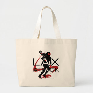 Lacrosse Girls LAX Attack Red Large Tote Bag