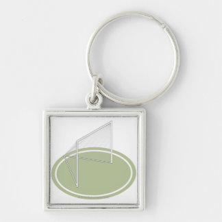 Lacrosse goal Silver-Colored square keychain