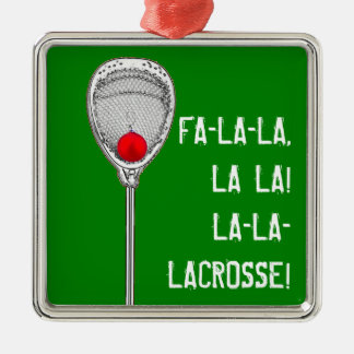 LACROSSE GOALIE CHRISTMAS GIFT SQUARE METAL CHRISTMAS ORNAMENT