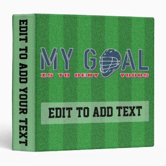 Lacrosse Goalie Quote Customizable Binder
